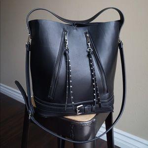 Zara Bags - ZARA BLACK FAUX LEATHER STUDDED BUCKET BAG.